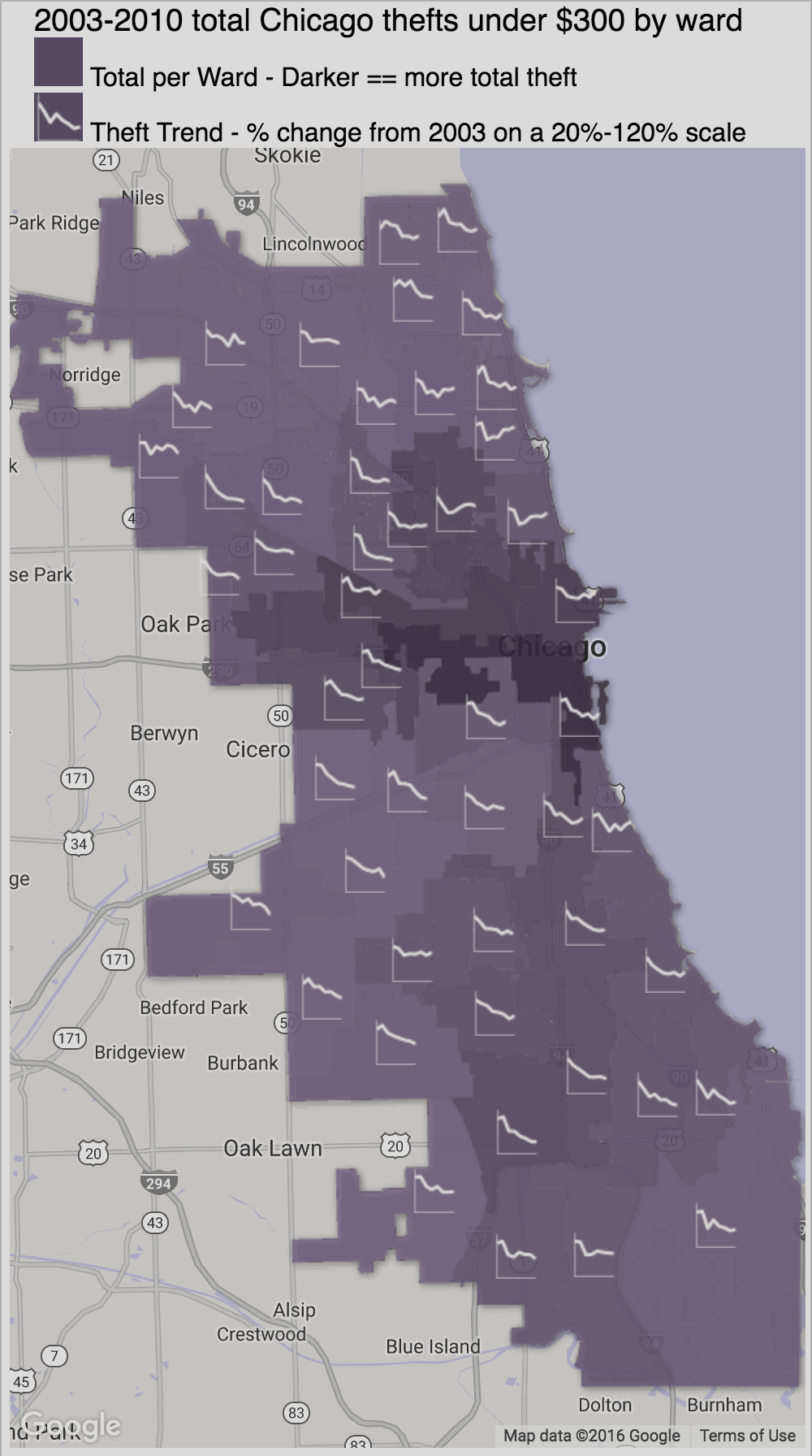 chicago theft visualization by ward